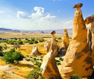 Magnificent rock landscape. Cappadocia, Turkey.